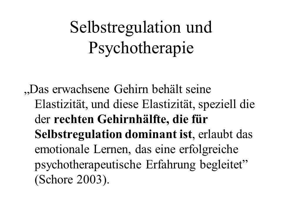 Selbstregulation und Psychotherapie Das erwachsene Gehirn behält seine Elastizität, und diese Elastizität, speziell die der rechten Gehirnhälfte, die für Selbstregulation dominant ist, erlaubt das emotionale Lernen, das eine erfolgreiche psychotherapeutische Erfahrung begleitet (Schore 2003).