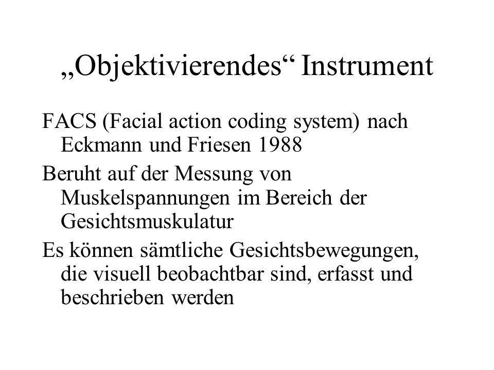Objektivierendes Instrument FACS (Facial action coding system) nach Eckmann und Friesen 1988 Beruht auf der Messung von Muskelspannungen im Bereich der Gesichtsmuskulatur Es können sämtliche Gesichtsbewegungen, die visuell beobachtbar sind, erfasst und beschrieben werden