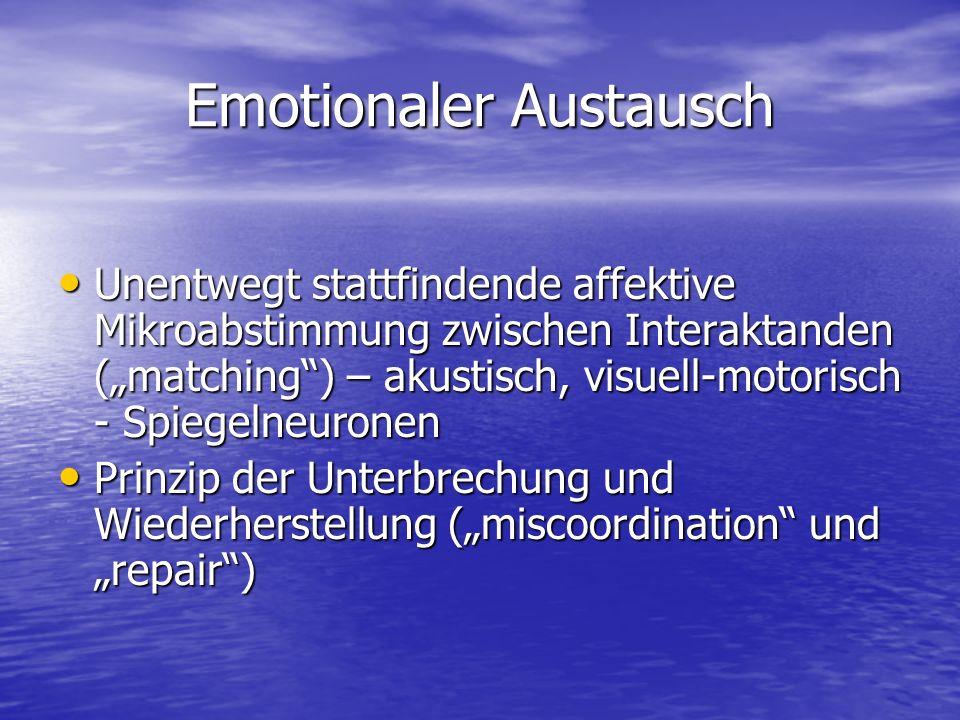 Emotionaler Austausch Unentwegt stattfindende affektive Mikroabstimmung zwischen Interaktanden (matching) – akustisch, visuell-motorisch - Spiegelneur