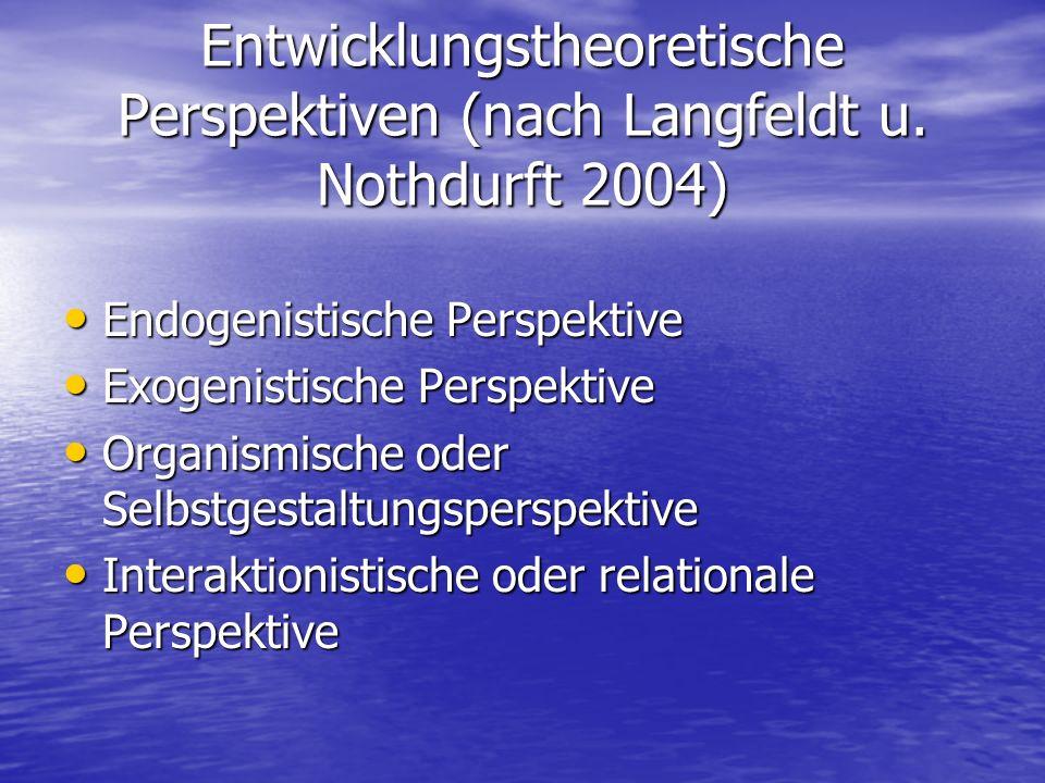 Entwicklungstheoretische Perspektiven (nach Langfeldt u. Nothdurft 2004) Endogenistische Perspektive Endogenistische Perspektive Exogenistische Perspe