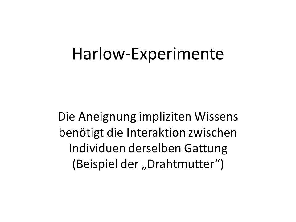 Harlow-Experimente Die Aneignung impliziten Wissens benötigt die Interaktion zwischen Individuen derselben Gattung (Beispiel der Drahtmutter)