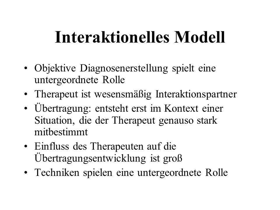 Interaktionelles Modell Objektive Diagnosenerstellung spielt eine untergeordnete Rolle Therapeut ist wesensmäßig Interaktionspartner Übertragung: entsteht erst im Kontext einer Situation, die der Therapeut genauso stark mitbestimmt Einfluss des Therapeuten auf die Übertragungsentwicklung ist groß Techniken spielen eine untergeordnete Rolle