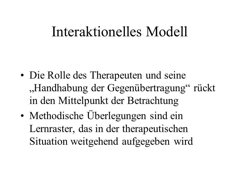 Interaktionelles Modell Die Rolle des Therapeuten und seine Handhabung der Gegenübertragung rückt in den Mittelpunkt der Betrachtung Methodische Überlegungen sind ein Lernraster, das in der therapeutischen Situation weitgehend aufgegeben wird