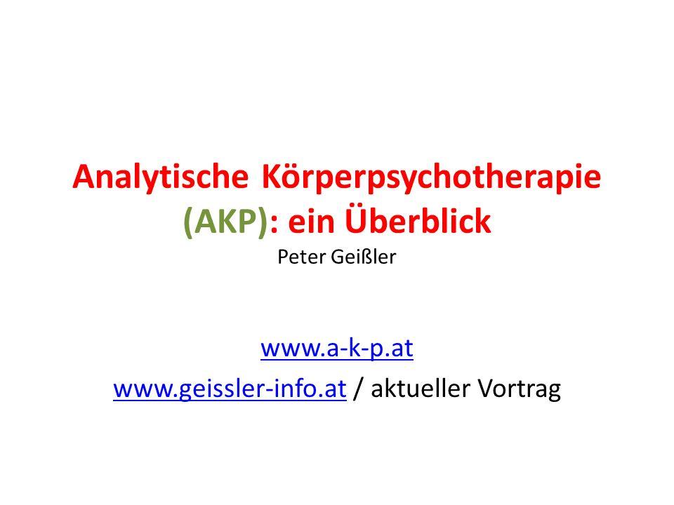 Analytische Körperpsychotherapie (AKP): ein Überblick Peter Geißler www.a-k-p.at www.geissler-info.atwww.geissler-info.at / aktueller Vortrag