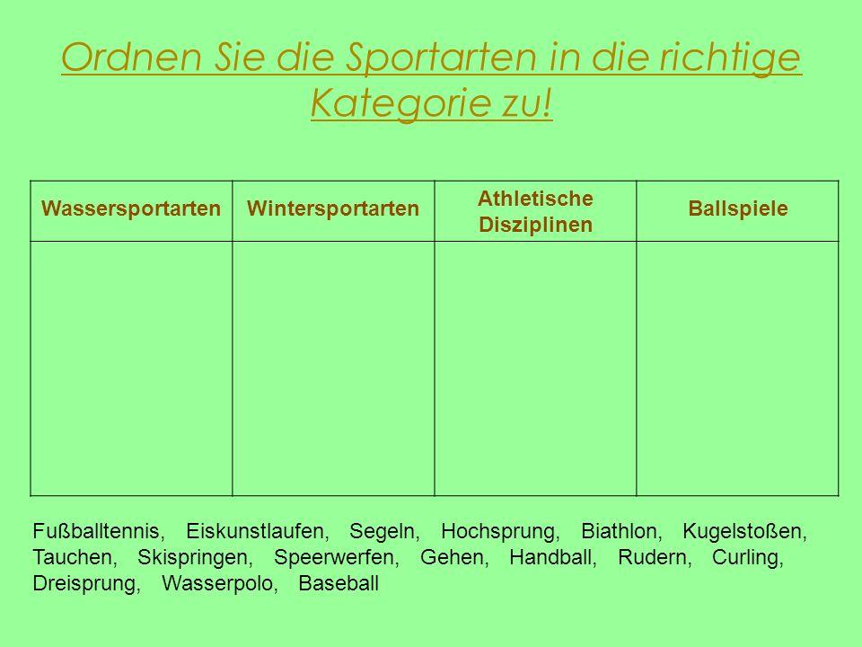 Ordnen Sie die Sportarten in die richtige Kategorie zu! Fußballtennis, Eiskunstlaufen, Segeln, Hochsprung, Biathlon, Kugelstoßen, Tauchen, Skispringen