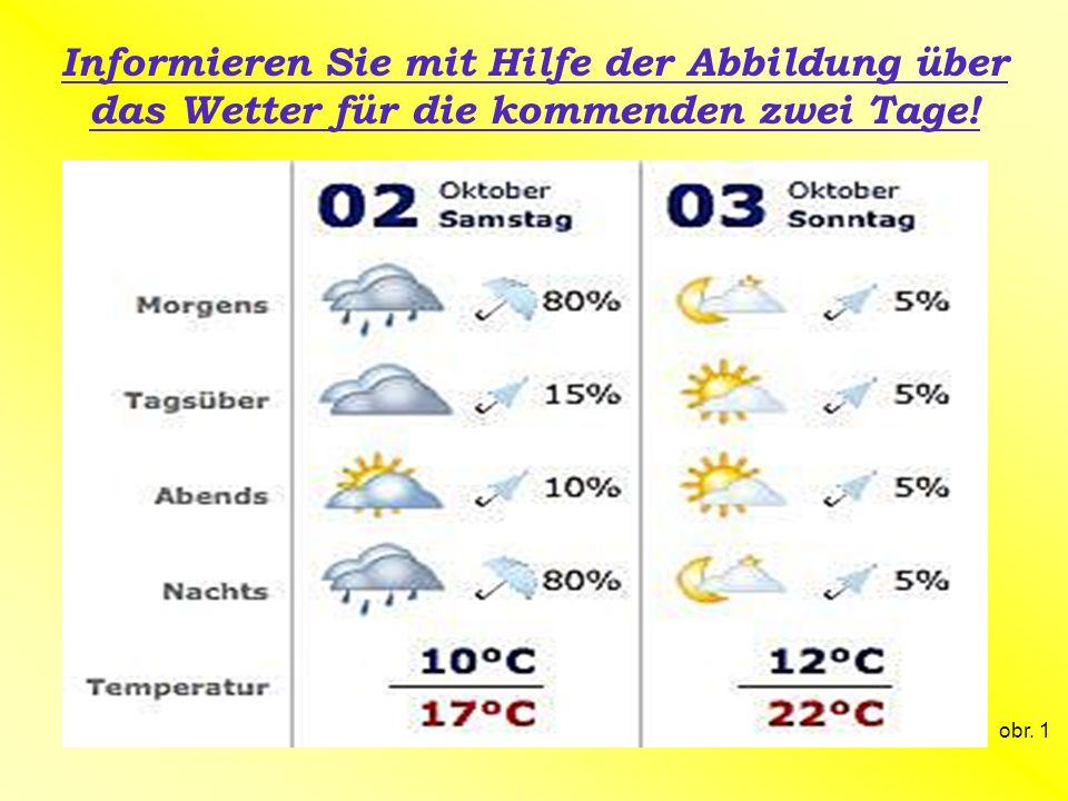 Informieren Sie mit Hilfe der Abbildung über das Wetter für die kommenden zwei Tage! obr. 1