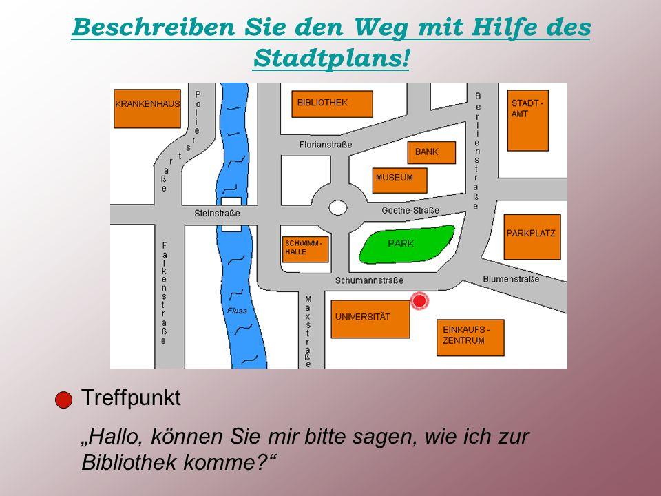 Beschreiben Sie den Weg mit Hilfe des Stadtplans.