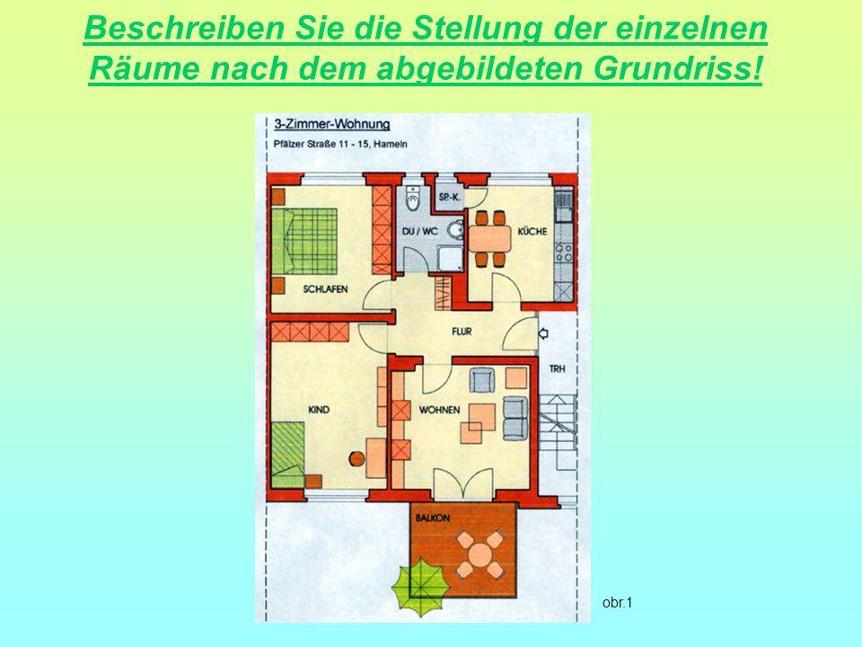 Beschreiben Sie die Stellung der einzelnen Räume nach dem abgebildeten Grundriss! obr.1