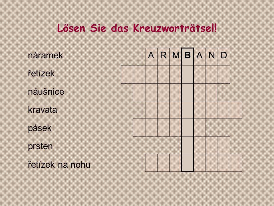 Lösen Sie das Kreuzworträtsel! náramek řetízek náušnice kravata pásek prsten řetízek na nohu ARMBAND