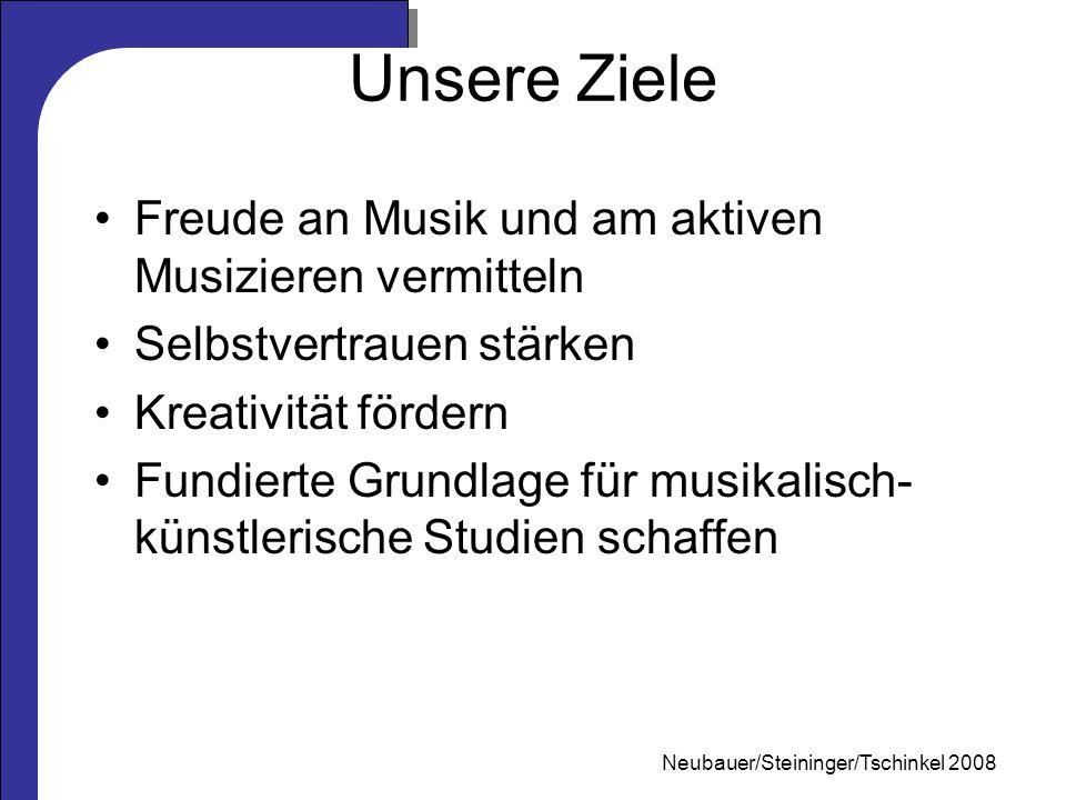 Mag. Neubauer 2006 Unsere Ziele Freude an Musik und am aktiven Musizieren vermitteln Selbstvertrauen stärken Kreativität fördern Fundierte Grundlage f