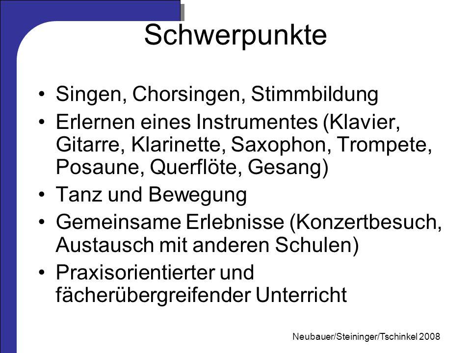 Mag. Neubauer 2006 Schwerpunkte Singen, Chorsingen, Stimmbildung Erlernen eines Instrumentes (Klavier, Gitarre, Klarinette, Saxophon, Trompete, Posaun