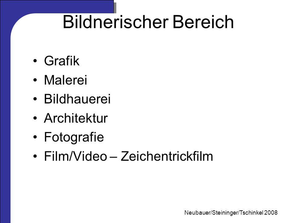 Mag. Neubauer 2006 Bildnerischer Bereich Grafik Malerei Bildhauerei Architektur Fotografie Film/Video – Zeichentrickfilm Neubauer/Steininger/Tschinkel