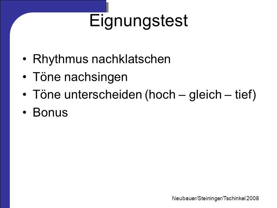 Mag. Neubauer 2006 Eignungstest Rhythmus nachklatschen Töne nachsingen Töne unterscheiden (hoch – gleich – tief) Bonus Neubauer/Steininger/Tschinkel 2