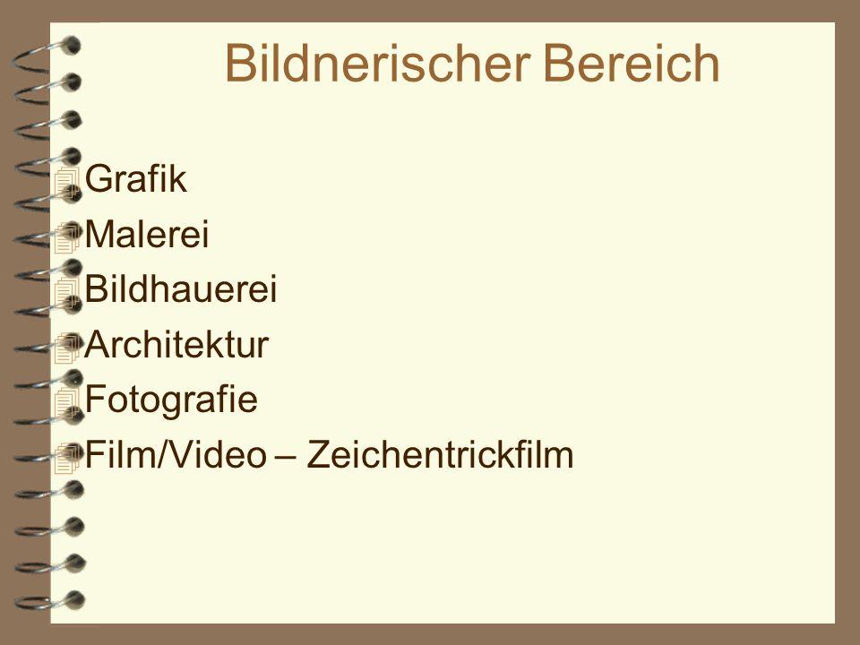 Bildnerischer Bereich 4 Grafik 4 Malerei 4 Bildhauerei 4 Architektur 4 Fotografie 4 Film/Video – Zeichentrickfilm