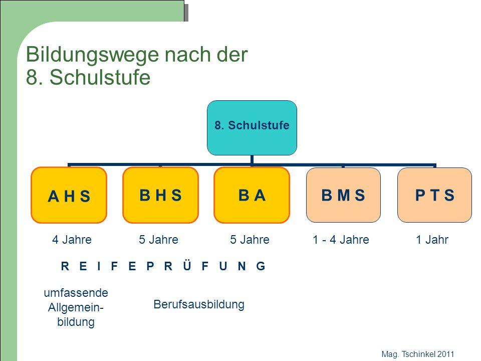 Mag. Tschinkel 2011 Bildungswege nach der 8. Schulstufe 8. Schulstufe A H S B H SB AB M SP T S 4 Jahre5 Jahre 1 - 4 Jahre1 Jahr umfassende Allgemein-