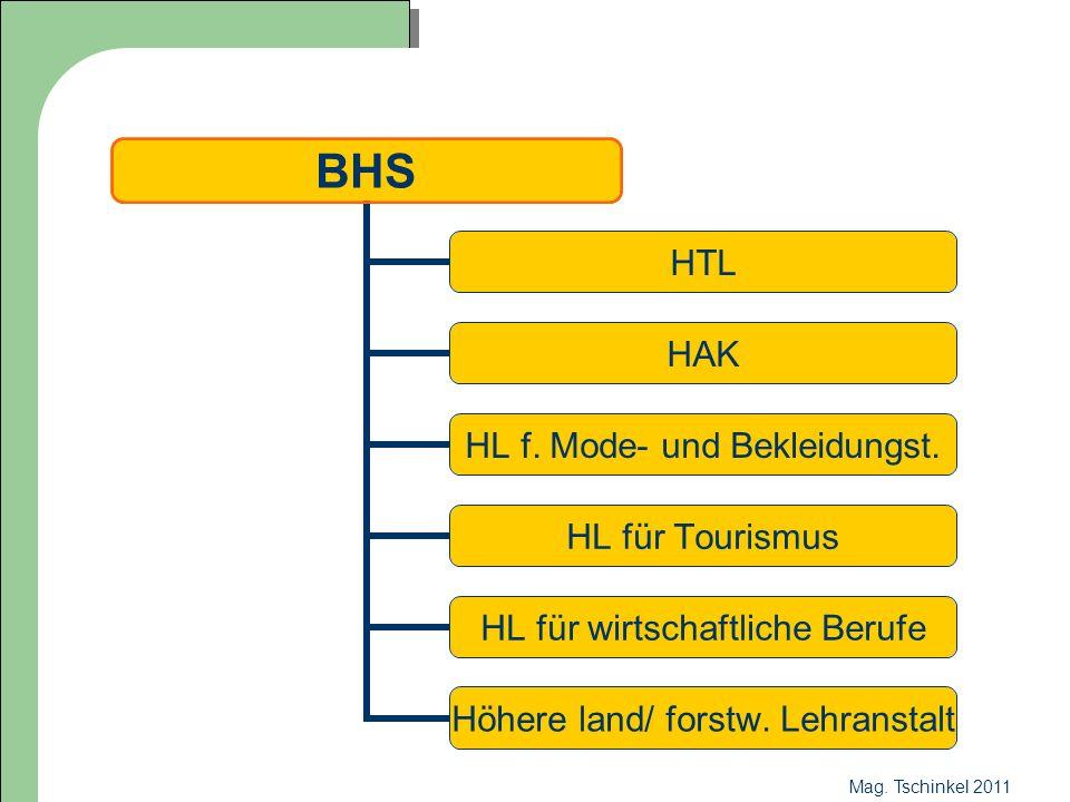 Mag. Tschinkel 2011 BHS HTL HAK HL f. Mode- und Bekleidungst. HL für Tourismus HL für wirtschaftliche Berufe Höhere land/ forstw. Lehranstalt
