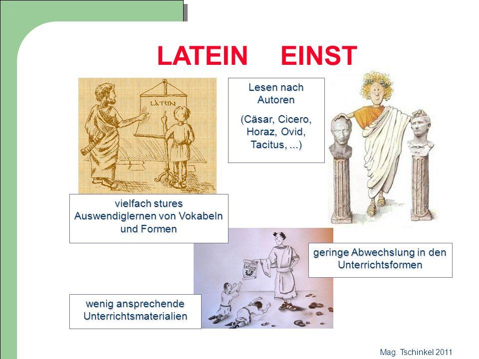 Mag. Tschinkel 2011 LATEIN EINST Lesen nach Autoren (Cäsar, Cicero, Horaz, Ovid, Tacitus,...) geringe Abwechslung in den Unterrichtsformen wenig anspr