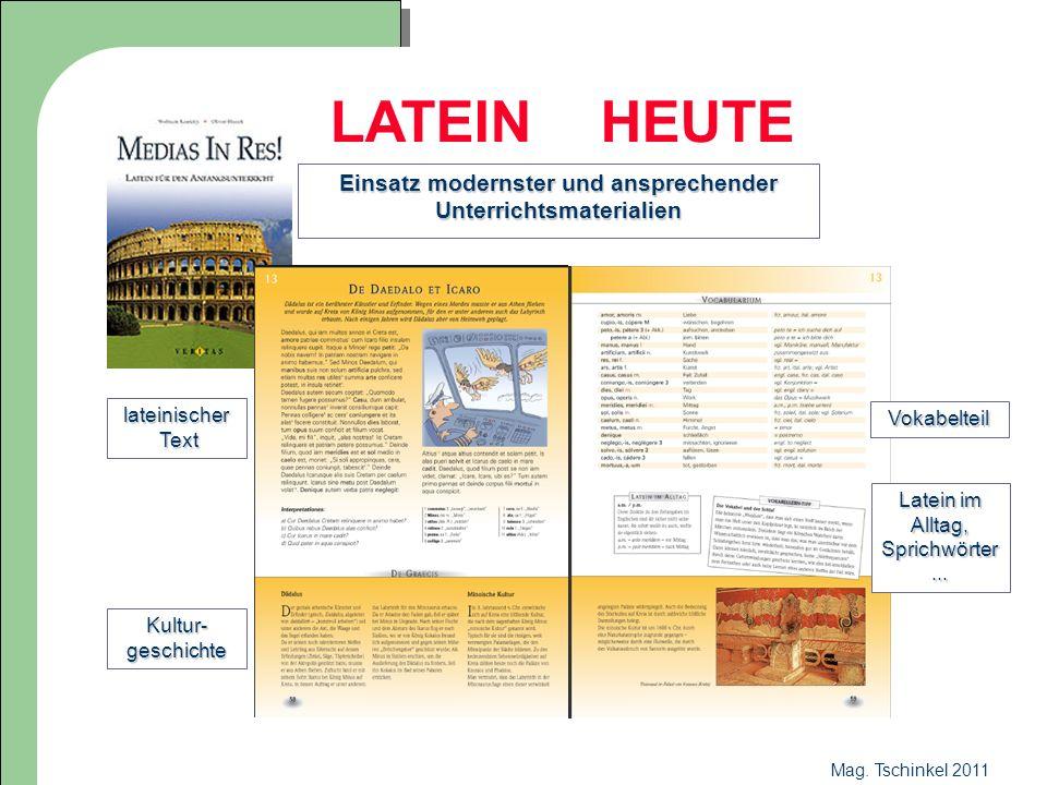 Mag. Tschinkel 2011 LATEIN HEUTE Einsatz modernster und ansprechender Unterrichtsmaterialien lateinischer Text Text Kultur- geschichte Vokabelteil Lat