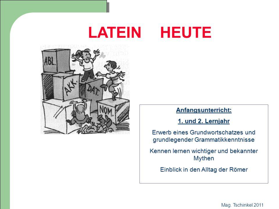Mag. Tschinkel 2011 LATEIN HEUTE Anfangsunterricht: 1. und 2. Lernjahr Erwerb eines Grundwortschatzes und grundlegender Grammatikkenntnisse Kennen ler