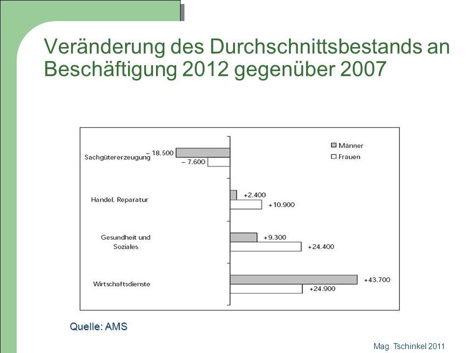 Mag. Tschinkel 2011 Veränderung des Durchschnittsbestands an Beschäftigung 2012 gegenüber 2007 Quelle: AMS