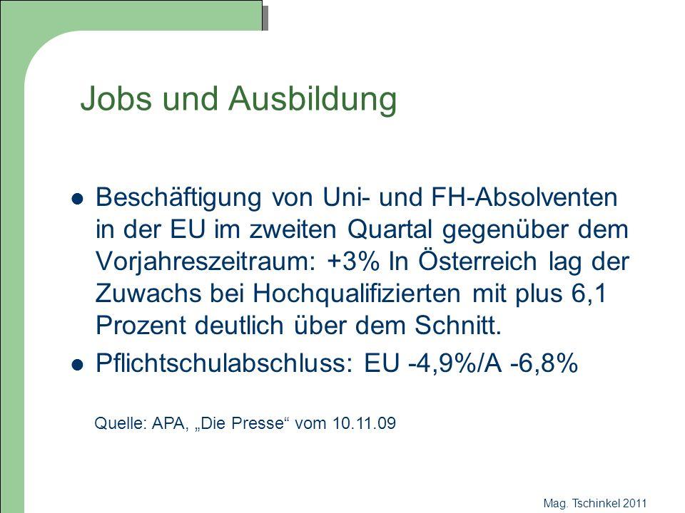 Mag. Tschinkel 2011 Jobs und Ausbildung Beschäftigung von Uni- und FH-Absolventen in der EU im zweiten Quartal gegenüber dem Vorjahreszeitraum: +3% In