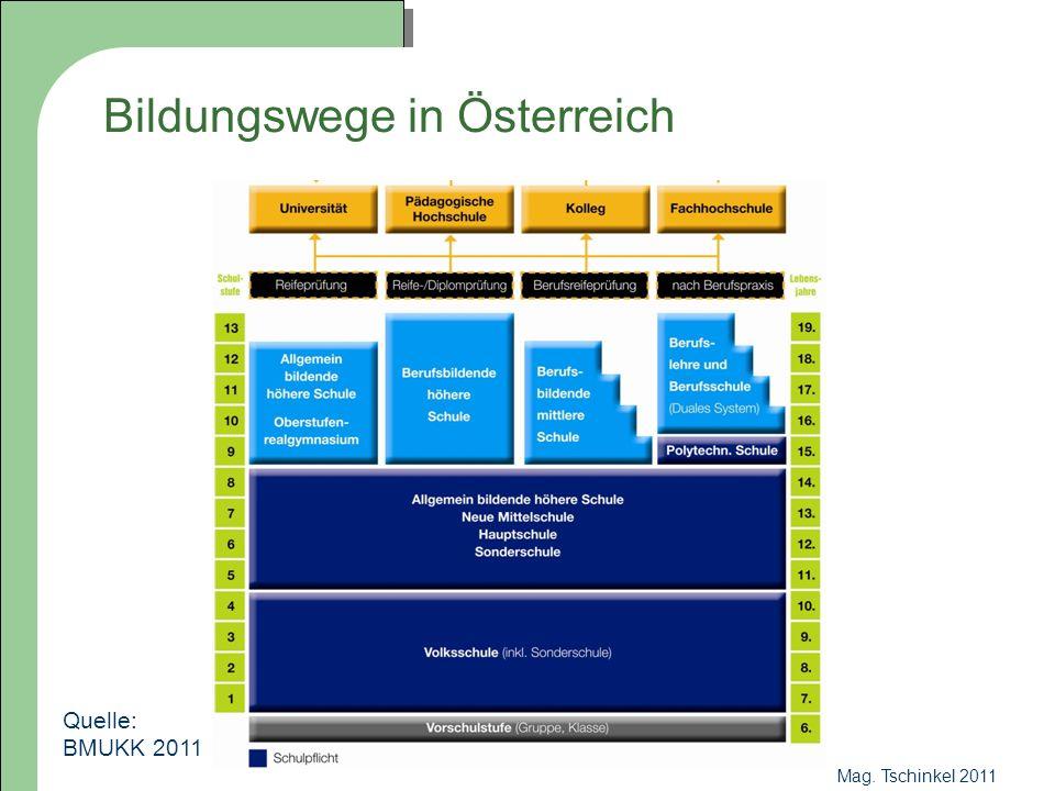 Mag.Tschinkel 2011 Bildungswege nach der 8. Schulstufe 8.