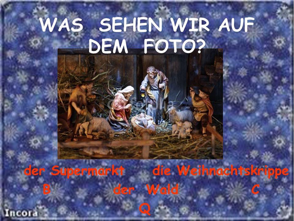 der Supermarkt die Weihnachtskrippe B der Wald C Q WAS SEHEN WIR AUF DEM FOTO?