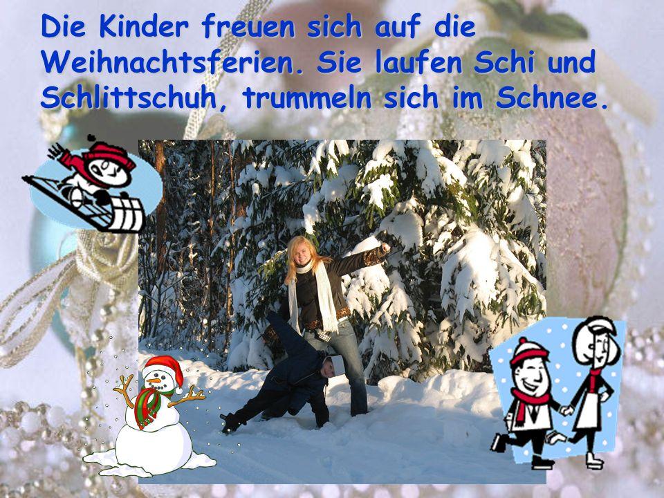 Die Kinder freuen sich auf die Weihnachtsferien. Sie laufen Schi und Schlittschuh, trummeln sich im Schnee.