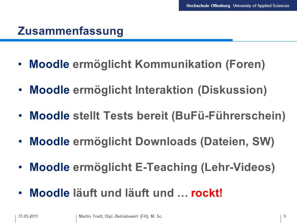 Hochschule Offenburg University of Applied Sciences Zusammenfassung 9 Moodle ermöglicht Kommunikation (Foren) Moodle ermöglicht Interaktion (Diskussio