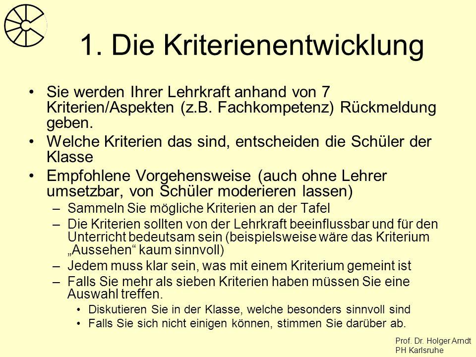 Prof. Dr. Holger Arndt PH Karlsruhe 1. Die Kriterienentwicklung Sie werden Ihrer Lehrkraft anhand von 7 Kriterien/Aspekten (z.B. Fachkompetenz) Rückme
