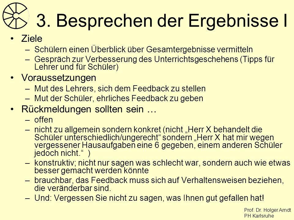 Prof. Dr. Holger Arndt PH Karlsruhe 3. Besprechen der Ergebnisse I Ziele –Schülern einen Überblick über Gesamtergebnisse vermitteln –Gespräch zur Verb