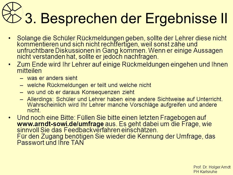 Prof. Dr. Holger Arndt PH Karlsruhe 3. Besprechen der Ergebnisse II Solange die Schüler Rückmeldungen geben, sollte der Lehrer diese nicht kommentiere