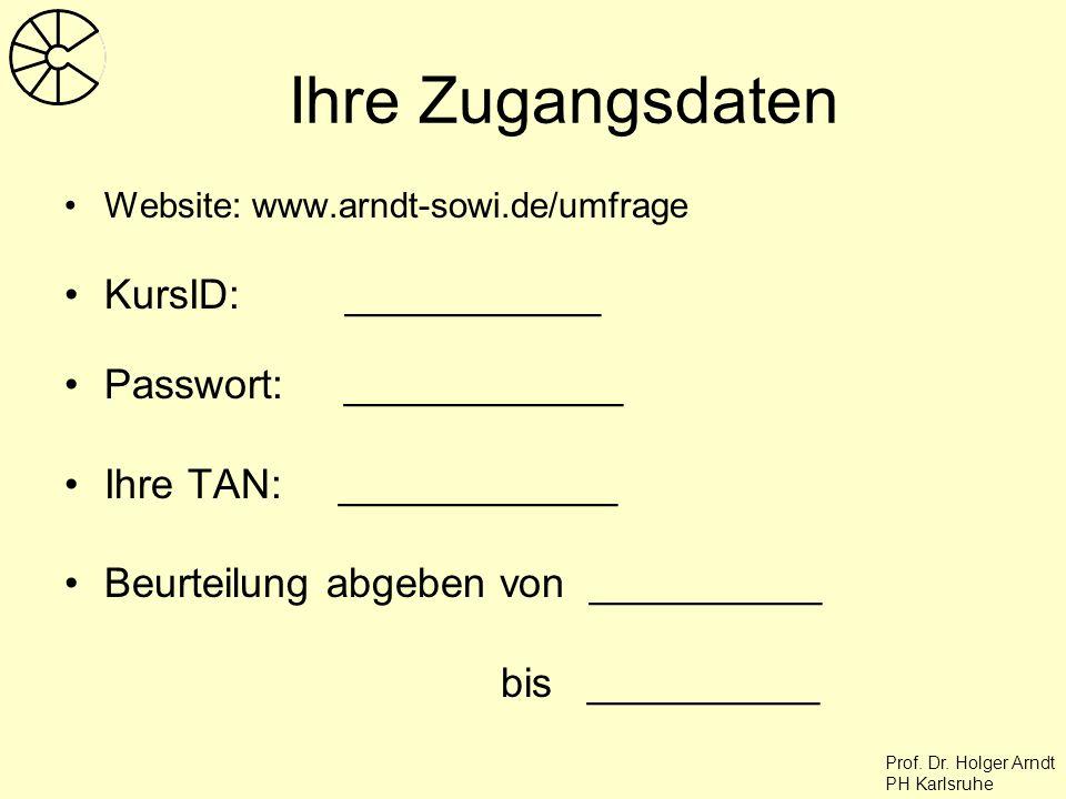 Prof. Dr. Holger Arndt PH Karlsruhe Ihre Zugangsdaten Website: www.arndt-sowi.de/umfrage KursID: ___________ Passwort: ____________ Ihre TAN: ________