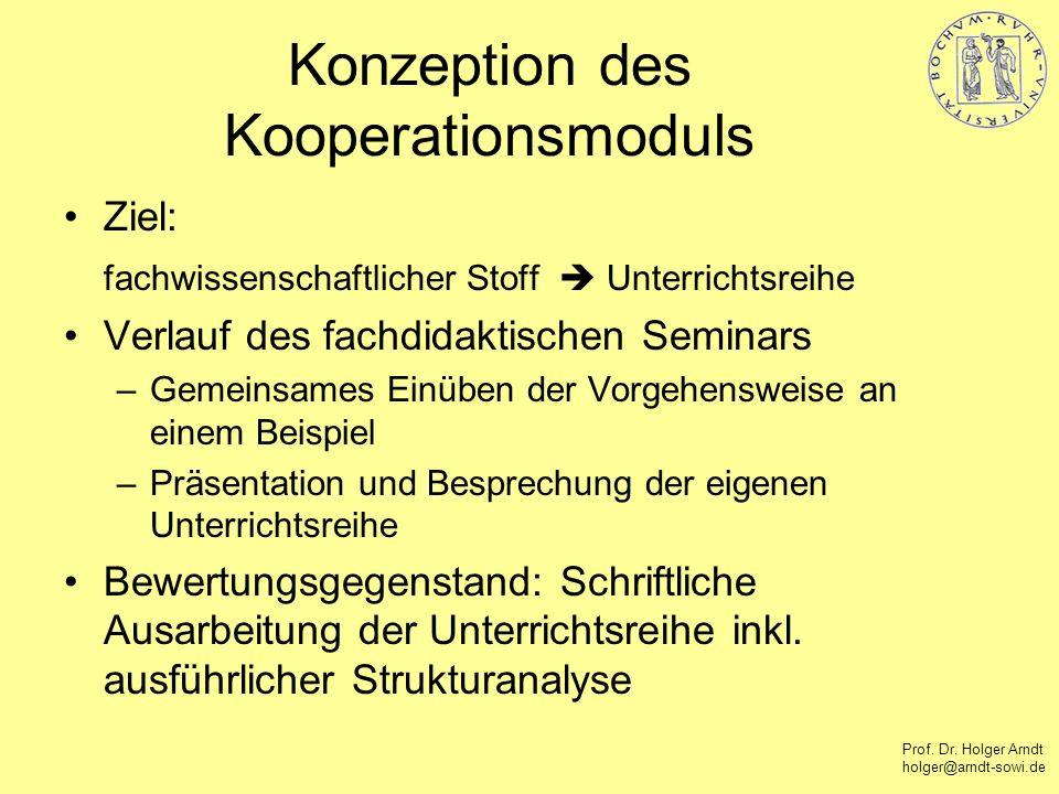 Prof. Dr. Holger Arndt holger@arndt-sowi.de Konzeption des Kooperationsmoduls Ziel: fachwissenschaftlicher Stoff Unterrichtsreihe Verlauf des fachdida