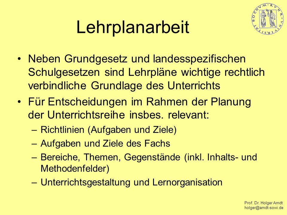 Prof. Dr. Holger Arndt holger@arndt-sowi.de Lehrplanarbeit Neben Grundgesetz und landesspezifischen Schulgesetzen sind Lehrpläne wichtige rechtlich ve