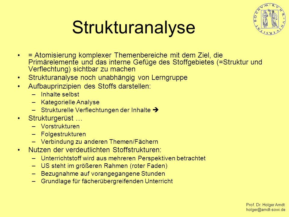 Prof. Dr. Holger Arndt holger@arndt-sowi.de Strukturanalyse = Atomisierung komplexer Themenbereiche mit dem Ziel, die Primärelemente und das interne G