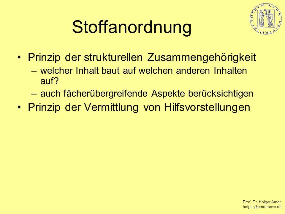 Prof. Dr. Holger Arndt holger@arndt-sowi.de Stoffanordnung Prinzip der strukturellen Zusammengehörigkeit –welcher Inhalt baut auf welchen anderen Inha