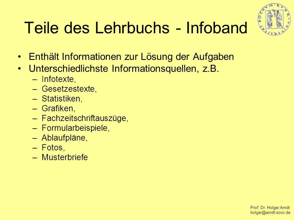 Prof. Dr. Holger Arndt holger@arndt-sowi.de Teile des Lehrbuchs - Infoband Enthält Informationen zur Lösung der Aufgaben Unterschiedlichste Informatio