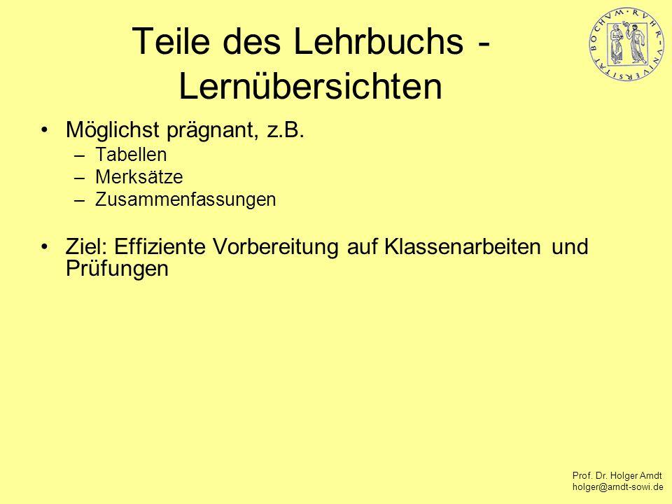 Prof. Dr. Holger Arndt holger@arndt-sowi.de Teile des Lehrbuchs - Lernübersichten Möglichst prägnant, z.B. –Tabellen –Merksätze –Zusammenfassungen Zie