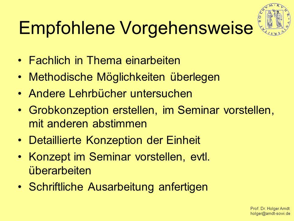 Prof. Dr. Holger Arndt holger@arndt-sowi.de Empfohlene Vorgehensweise Fachlich in Thema einarbeiten Methodische Möglichkeiten überlegen Andere Lehrbüc