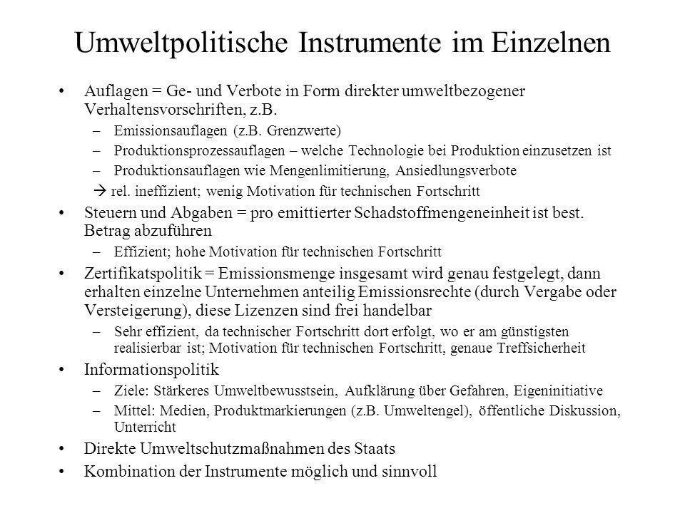 Umweltpolitische Instrumente im Einzelnen Auflagen = Ge- und Verbote in Form direkter umweltbezogener Verhaltensvorschriften, z.B.