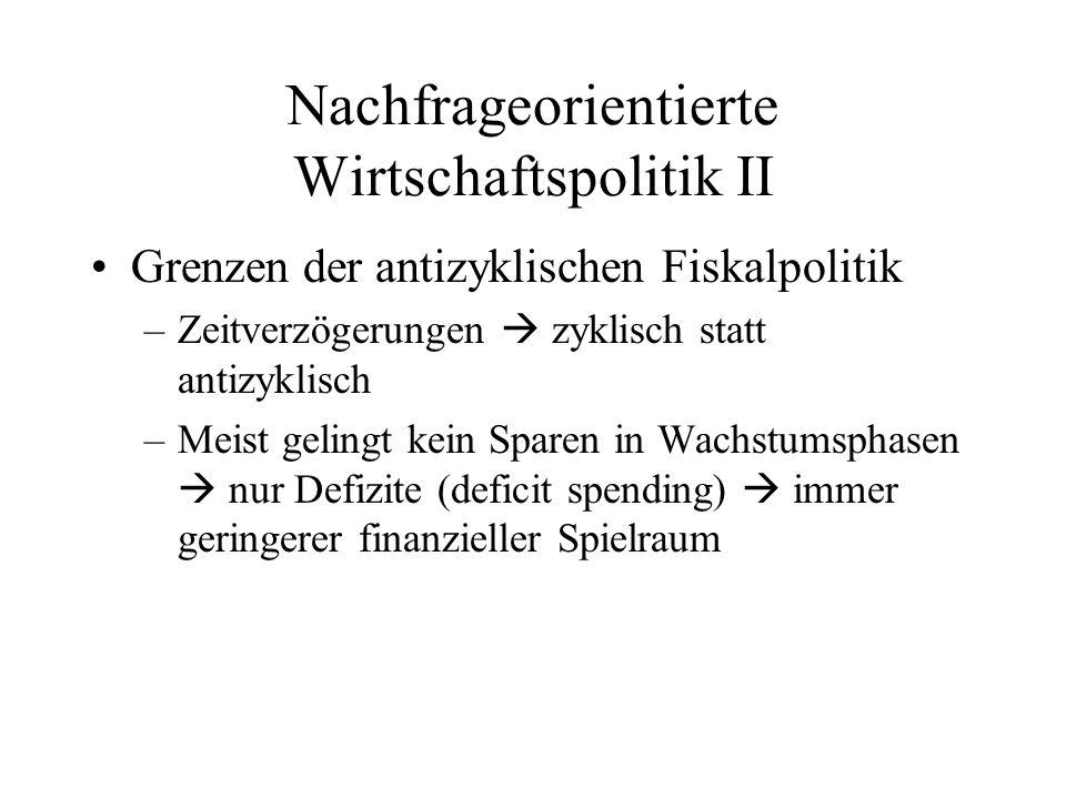Nachfrageorientierte Wirtschaftspolitik II Grenzen der antizyklischen Fiskalpolitik –Zeitverzögerungen zyklisch statt antizyklisch –Meist gelingt kein Sparen in Wachstumsphasen nur Defizite (deficit spending) immer geringerer finanzieller Spielraum