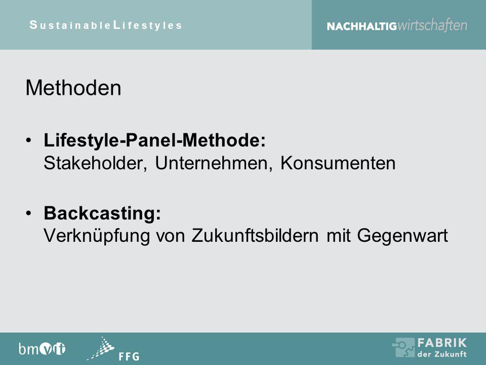 Methoden Lifestyle-Panel-Methode: Stakeholder, Unternehmen, Konsumenten Backcasting: Verknüpfung von Zukunftsbildern mit Gegenwart S u s t a i n a b l e L i f e s t y l e s