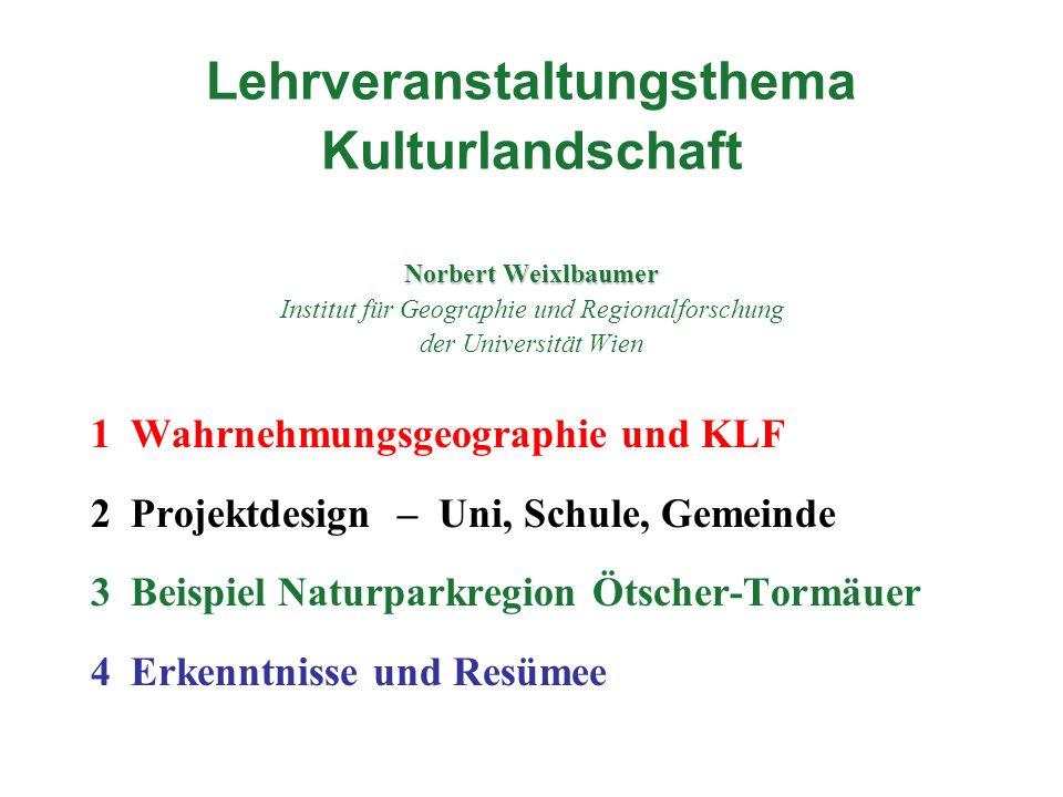 Norbert Weixlbaumer Lehrveranstaltungsthema Kulturlandschaft Norbert Weixlbaumer Institut für Geographie und Regionalforschung der Universität Wien 1W