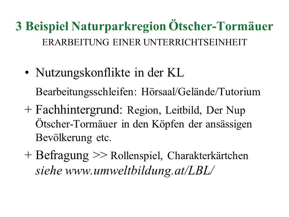 3 Beispiel Naturparkregion Ötscher-Tormäuer ERARBEITUNG EINER UNTERRICHTSEINHEIT Nutzungskonflikte in der KL Bearbeitungsschleifen: Hörsaal/Gelände/Tu