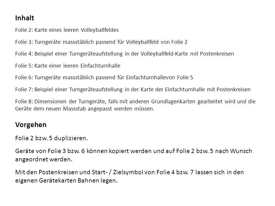 Folie 2: Karte eines leeren Volleyballfeldes Folie 3: Turngeräte massstäblich passend für Volleyballfeld von Folie 2 Folie 4: Beispiel einer Turngerät