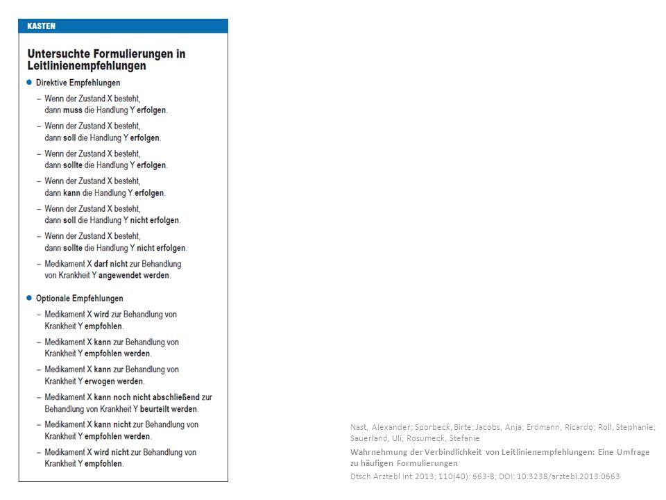 Nast, Alexander; Sporbeck, Birte; Jacobs, Anja; Erdmann, Ricardo; Roll, Stephanie; Sauerland, Uli; Rosumeck, Stefanie Wahrnehmung der Verbindlichkeit von Leitlinienempfehlungen: Eine Umfrage zu häufigen Formulierungen Dtsch Arztebl Int 2013; 110(40): 663-8; DOI: 10.3238/arztebl.2013.0663