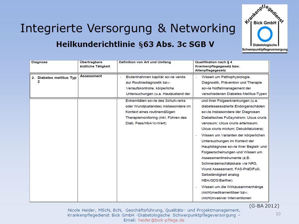 Integrierte Versorgung & Networking Nicole Heider, MScN, BcN, Geschäftsführung, Qualitäts- und Projektmanagement, Krankenpflegedienst Bick GmbH -Diabetologische Schwerpunktpflegeversorgung – Email: heider@bick-pflege.de 10 Heilkunderichtlinie §63 Abs.
