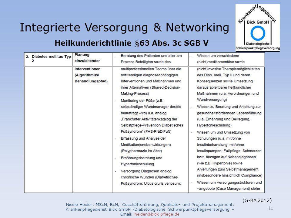 Integrierte Versorgung & Networking Nicole Heider, MScN, BcN, Geschäftsführung, Qualitäts- und Projektmanagement, Krankenpflegedienst Bick GmbH -Diabetologische Schwerpunktpflegeversorgung – Email: heider@bick-pflege.de 11 (G-BA 2012) Heilkunderichtlinie §63 Abs.