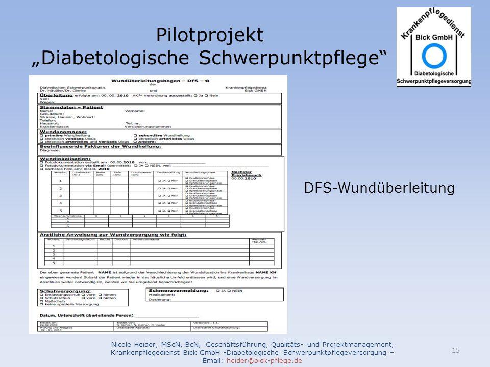 Pilotprojekt Diabetologische Schwerpunktpflege Nicole Heider, MScN, BcN, Geschäftsführung, Qualitäts- und Projektmanagement, Krankenpflegedienst Bick